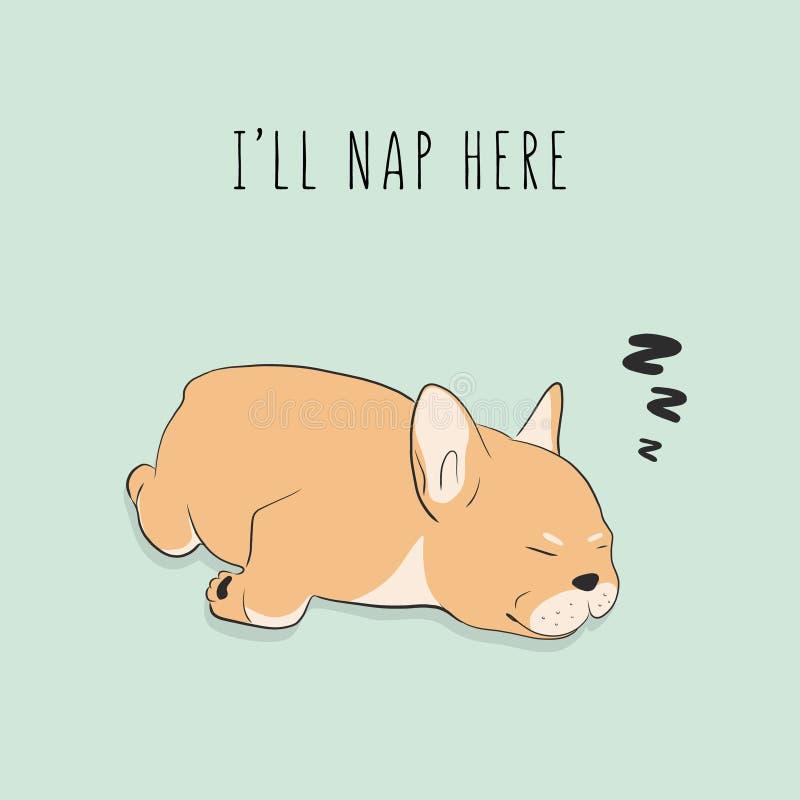 Śmieszny skołowany psi dosypianie Kreskówki zwierzęcia domowego charakter Wektorowa szczeniaka drzemania grafiki ilustracja Zwier ilustracji