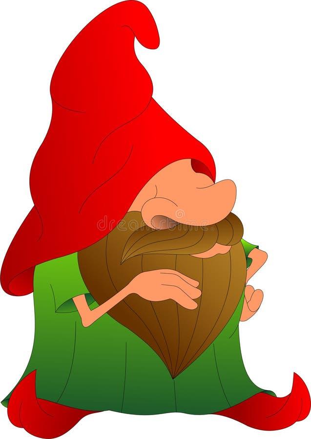 Śmieszny stary człowiek z brodą w wielkiej nakrętce ilustracji
