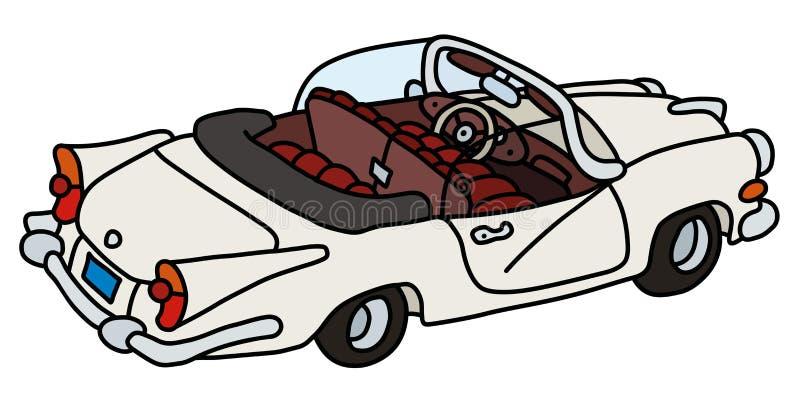 Śmieszny stary duży biały kabriolet royalty ilustracja