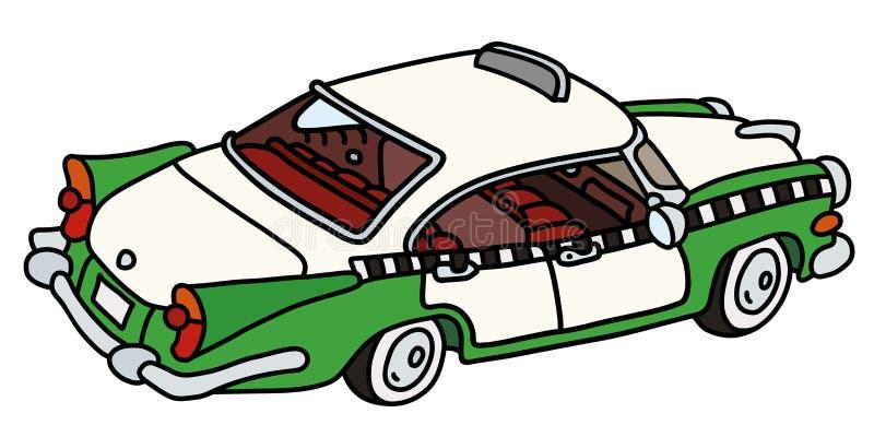 Śmieszny stary zieleni i bielu taxi ilustracji