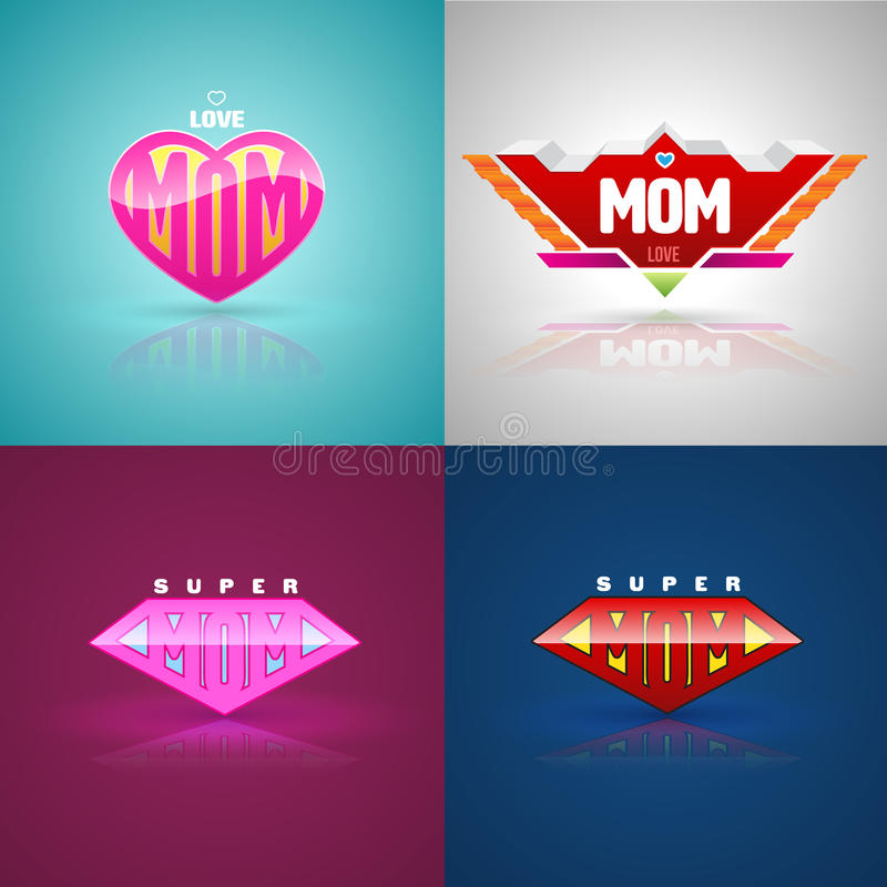 Śmieszny super mama loga set royalty ilustracja