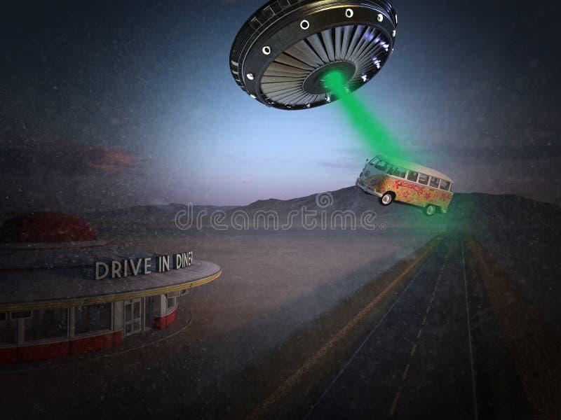 Śmieszny Surrealistyczny UFO obcego uprowadzenie obrazy royalty free