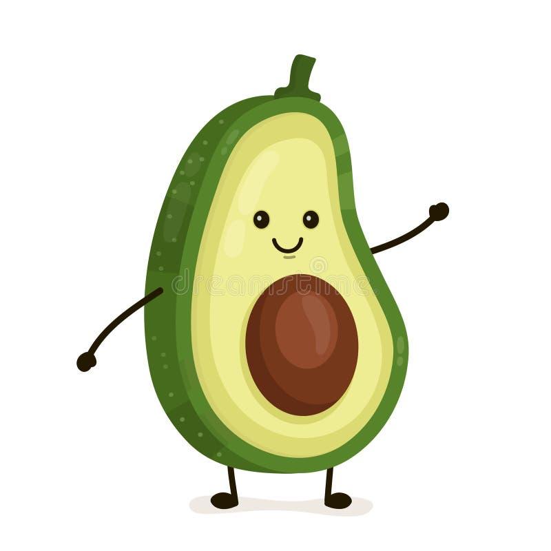 Śmieszny szczęśliwy śliczny szczęśliwy uśmiechnięty avocado ilustracja wektor