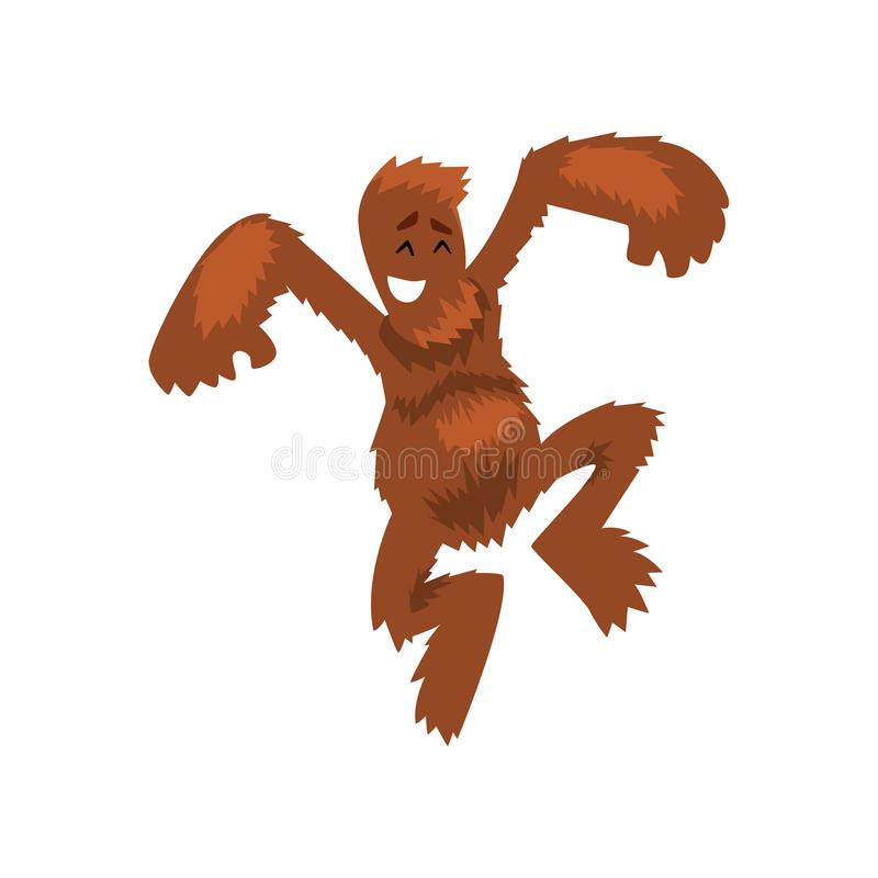Śmieszny szczęśliwy Bigfoot ma zabawę, mitycznej istoty postać z kreskówki wektorowa ilustracja na białym tle ilustracja wektor