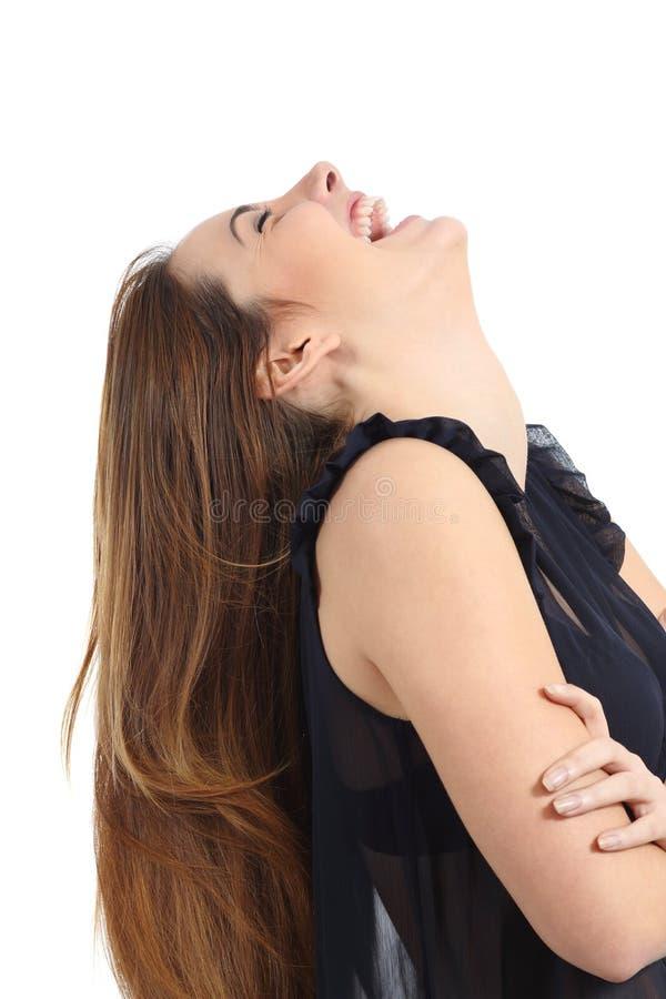 Śmieszny szczęśliwy kobiety śmiać się komicznie zdjęcie stock