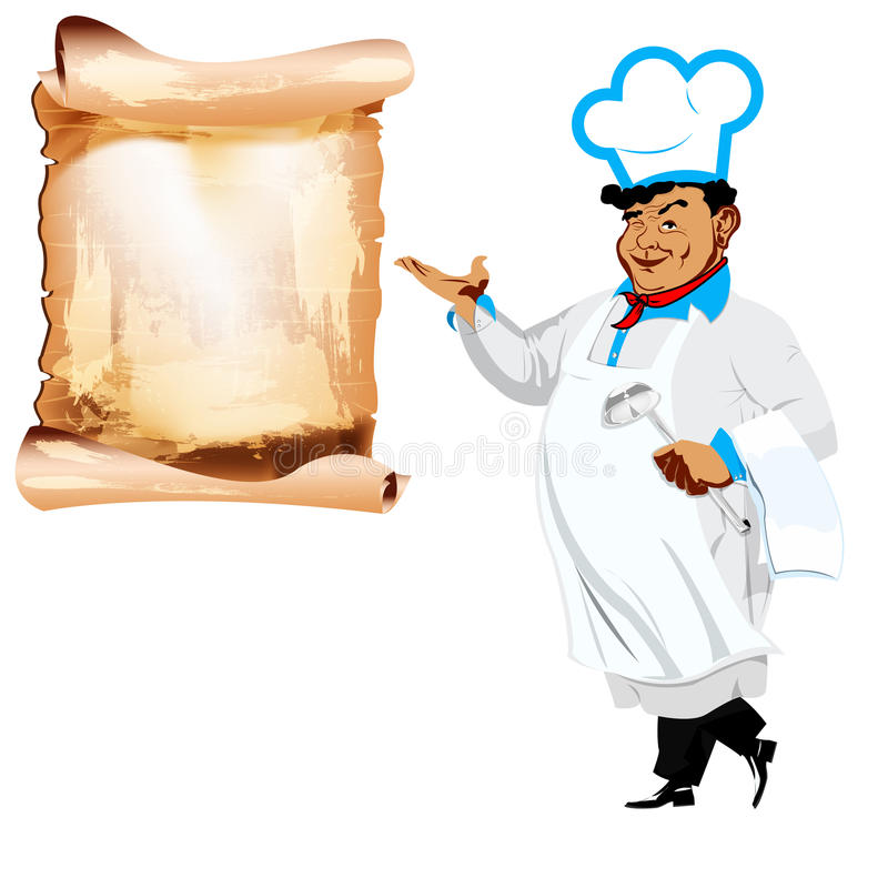 Download Śmieszny Szczęśliwy Szef Kuchni I Menu Ilustracji - Ilustracja złożonej z tło, śniadanie: 28951572