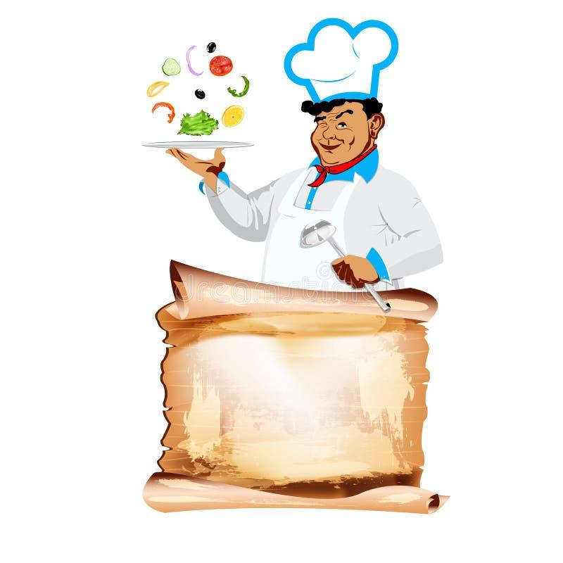 Download Śmieszny Szczęśliwy Szefa Kuchni I Jarosza Warzywa Menu Ilustracja Wektor - Ilustracja złożonej z lunch, kucharz: 28964906