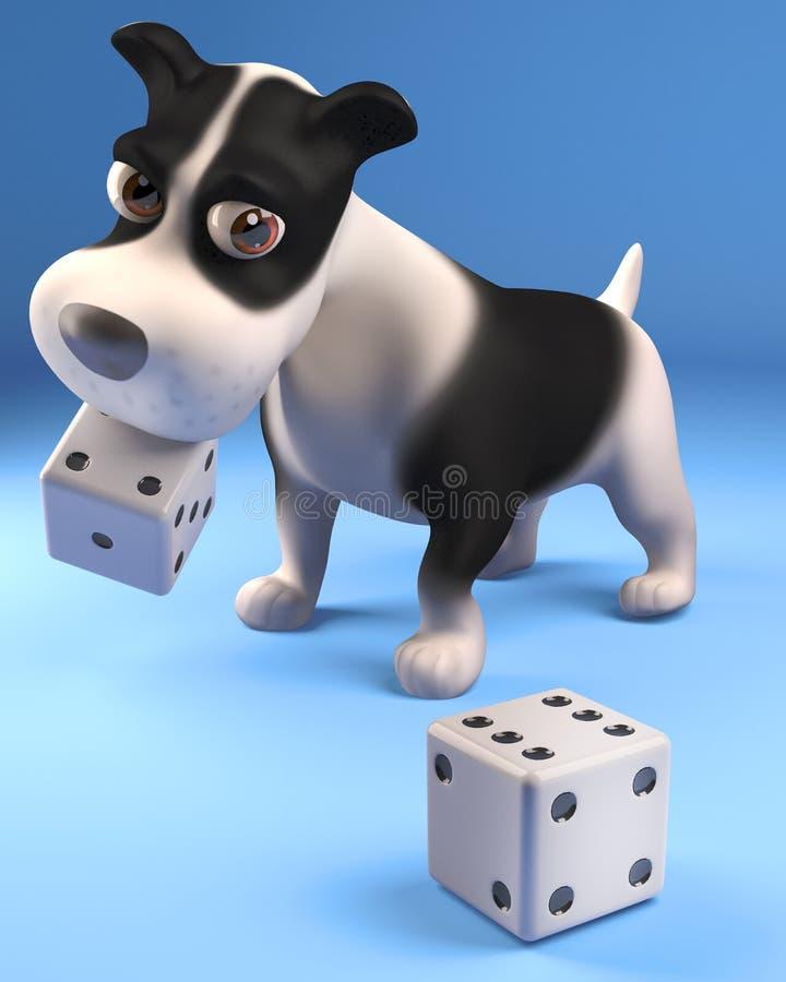 Śmieszny szczeniaka pies uprawia hazard z kostkami do gry, 3d ilustracja ilustracji