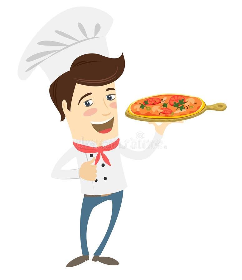 Śmieszny szef kuchni porci pizzy naczynie w kuchni royalty ilustracja