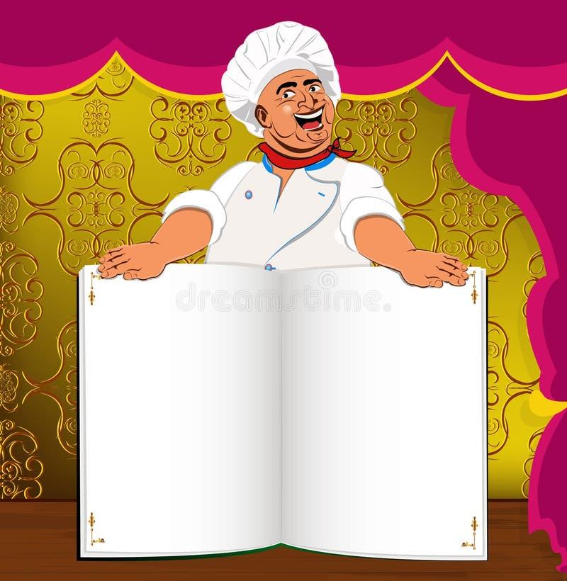 Śmieszny szefa kuchni i książki menu dla smakosza royalty ilustracja