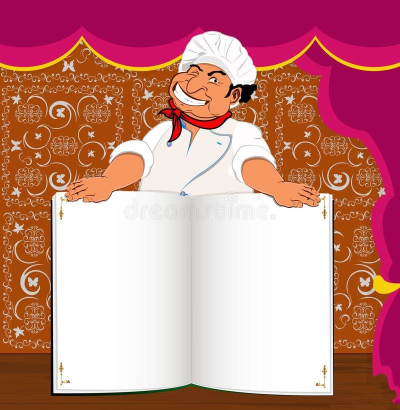 Śmieszny szefa kuchni i książki menu dla smakosza ilustracja wektor