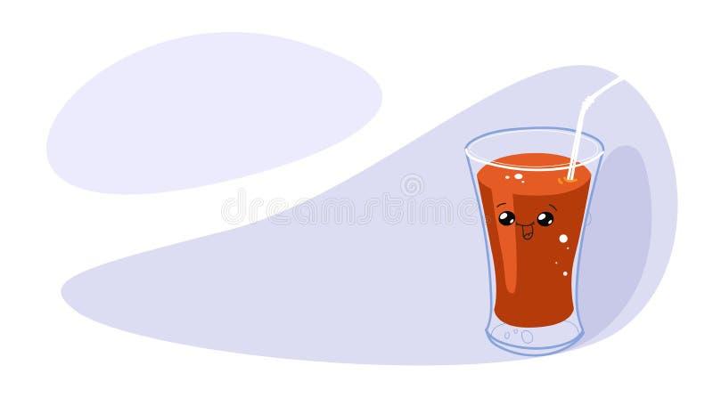 Śmieszny szkło pomidorowy sok z uśmiechniętą twarzy kawaii postacią z kreskówki horyzontalną ilustracji