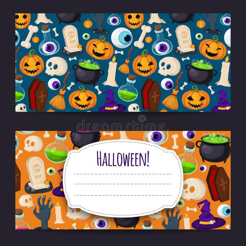 Śmieszny tło z Halloweenowymi ikonami royalty ilustracja