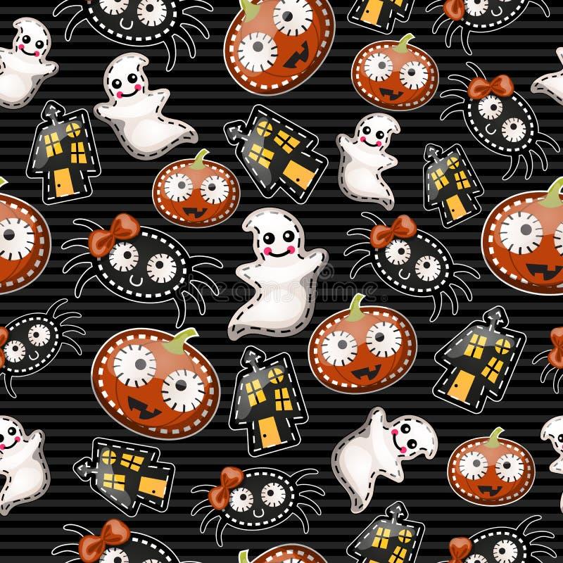 Śmieszny tło z symbolami Halloween ilustracja wektor