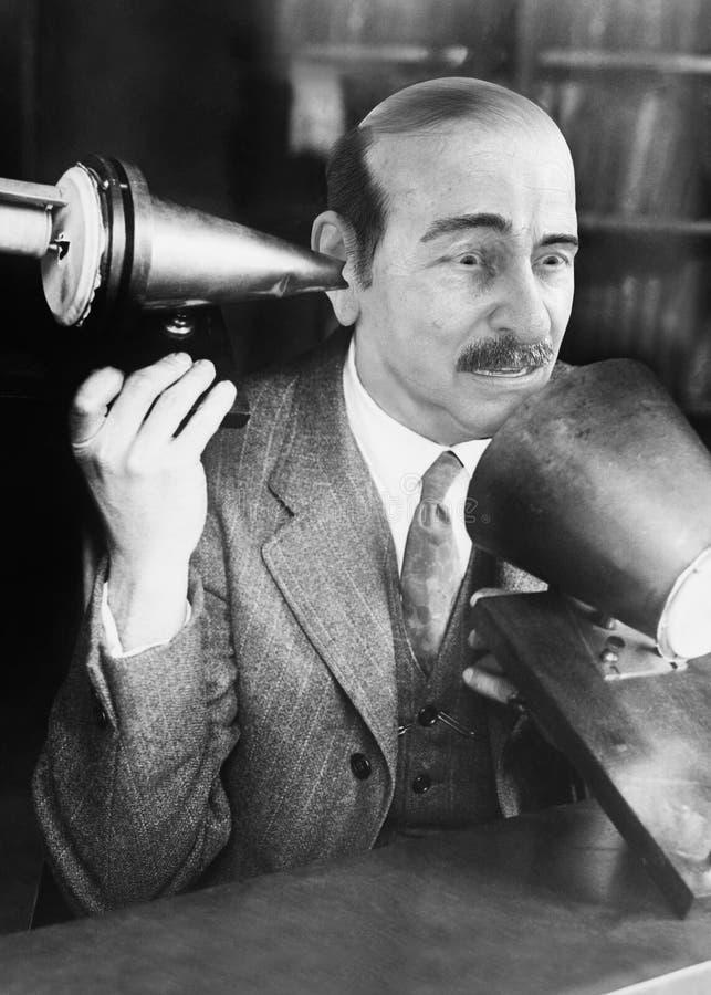 Śmieszny telefon, sprzedaże, marketing, Scince, naukowiec zdjęcia royalty free