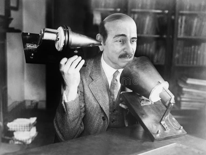 Śmieszny telefon, sprzedaże, marketing, Scince, naukowiec obrazy stock