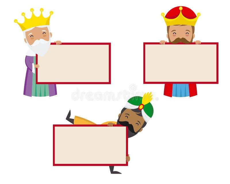 Śmieszny trzy królewiątka ukierunkowywają z etykietkami ilustracja wektor