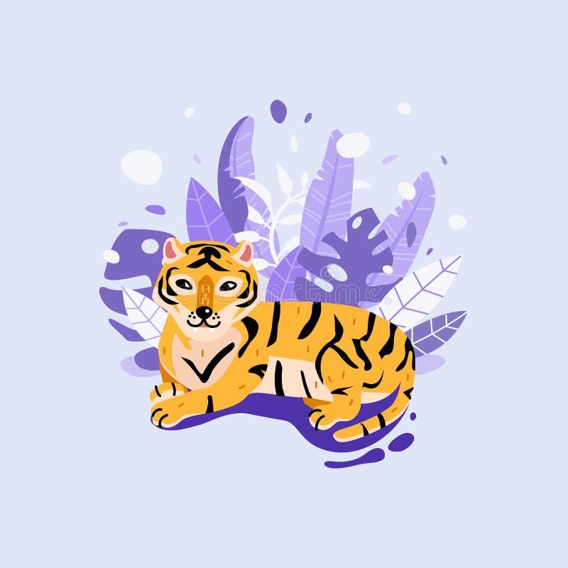 Śmieszny tygrys z tropikalnymi liśćmi Dżungli kreskówki zwierzęcia ilustracja royalty ilustracja