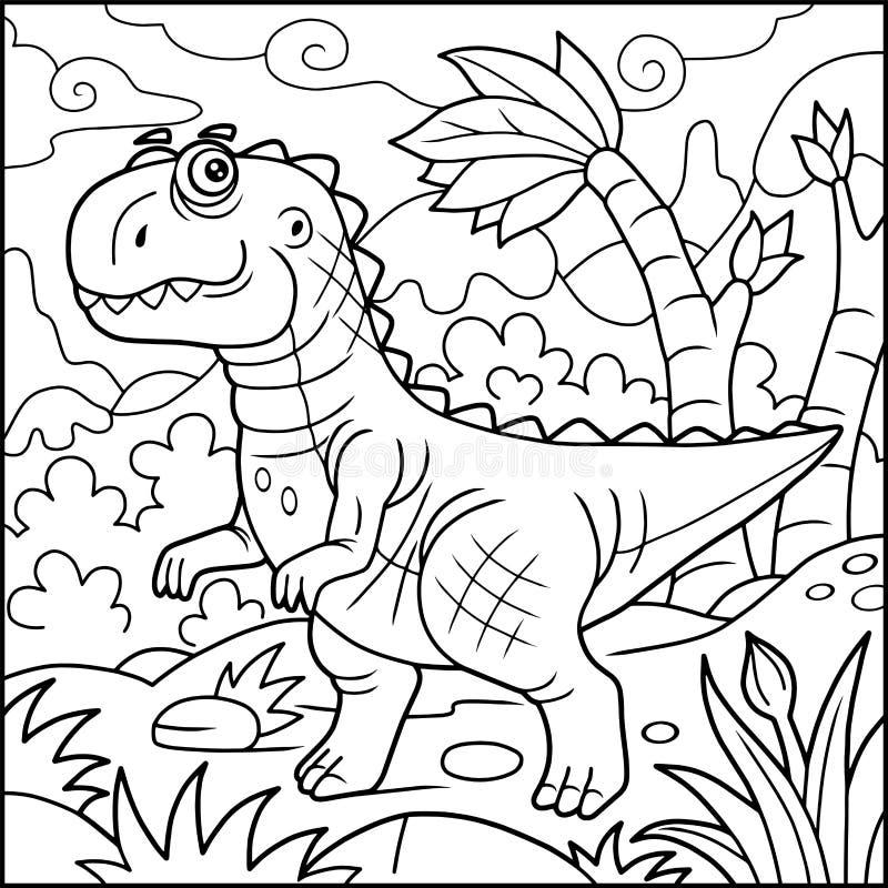 Śmieszny tyrannosaurus, kolorystyki książka ilustracji