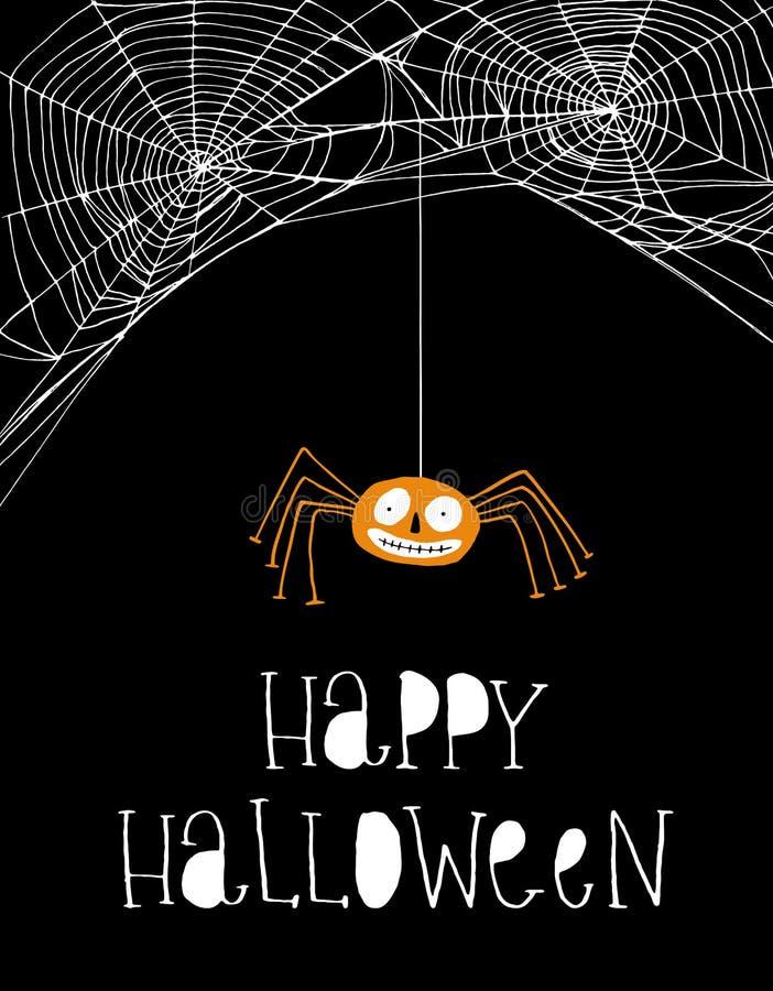 Śmieszny Uśmiechnięty Pomarańczowy pająk Prosta Biała pająk sieci wektoru ilustracja ilustracji