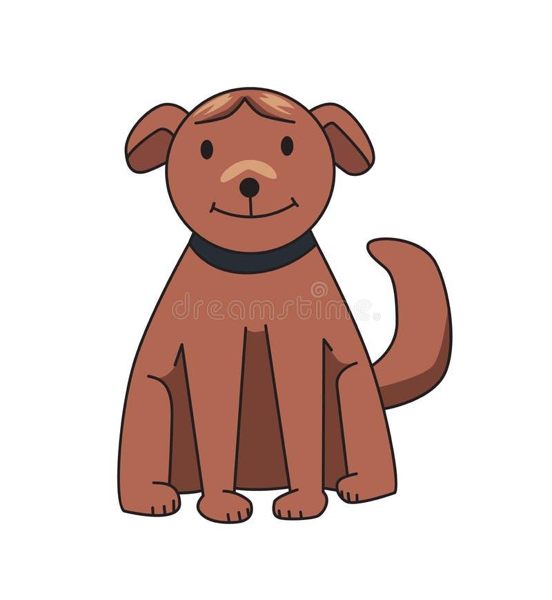 Śmieszny uśmiechnięty psi postać z kreskówki Brown psa obsiadanie Płaska wektorowa ilustracja pojedynczy białe tło royalty ilustracja