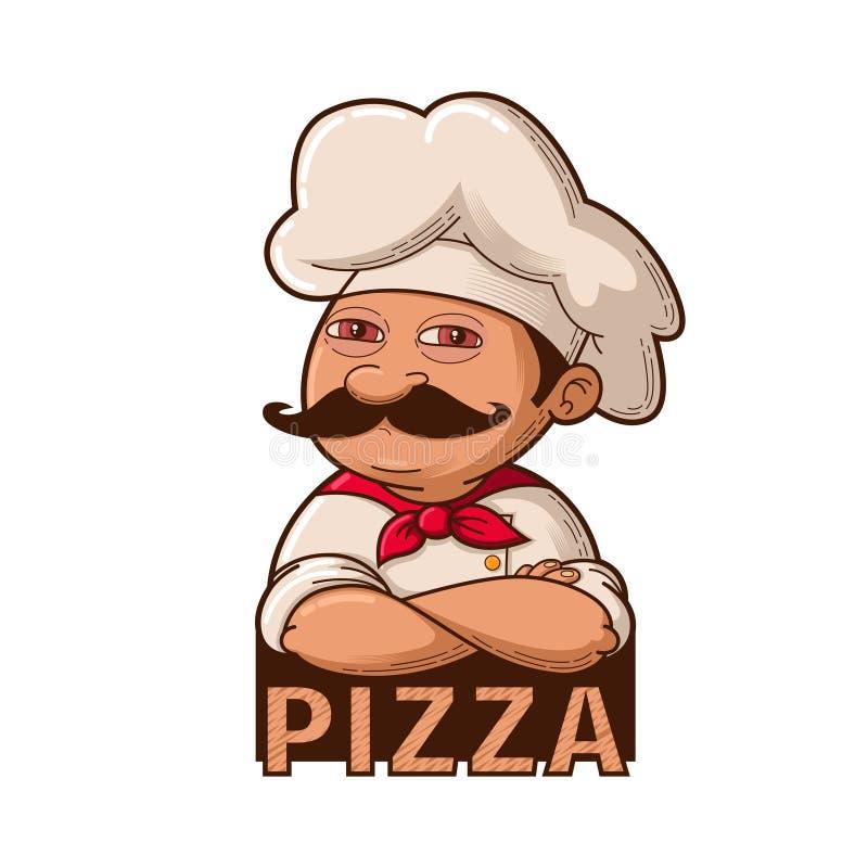 Śmieszny uśmiechnięty szef kuchni ilustracja wektor