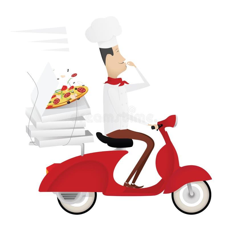Śmieszny włoski szef kuchni dostarcza pizzę na czerwonym moped ilustracji