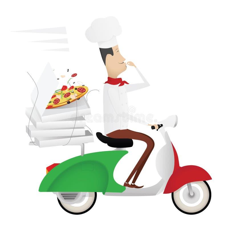 Śmieszny włoski szef kuchni dostarcza pizzę na moped ilustracji