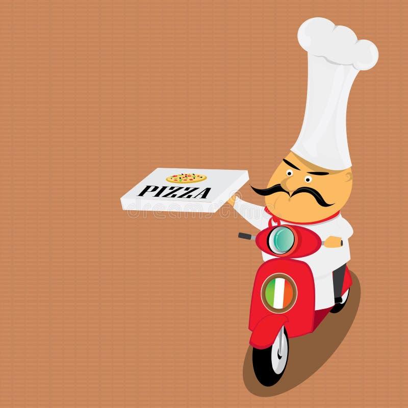 Śmieszny włoski szef kuchni dostarcza pizzę na moped royalty ilustracja