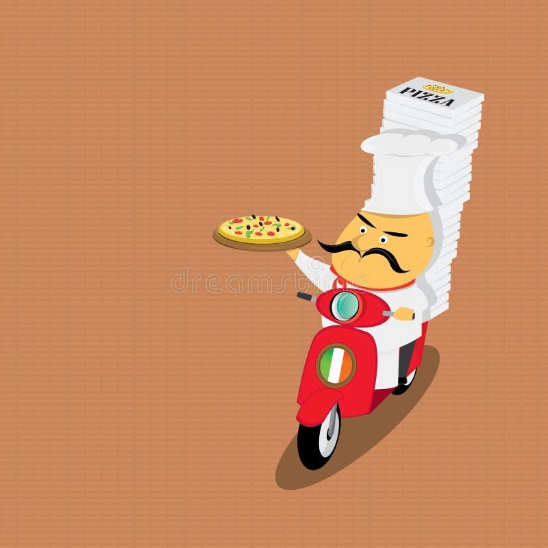 Śmieszny włoski szef kuchni dostarcza pizzę na moped ilustracja wektor