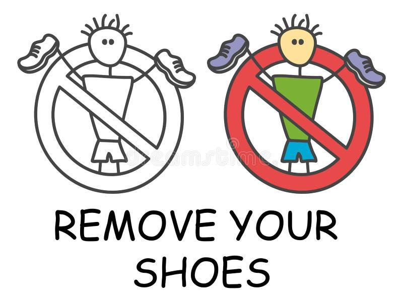 Śmieszny wektorowy kija mężczyzna z buty w dzieciach stylowych Usuwa twój but szyldową czerwoną prohibicję przesta?, symbol Prohi ilustracja wektor