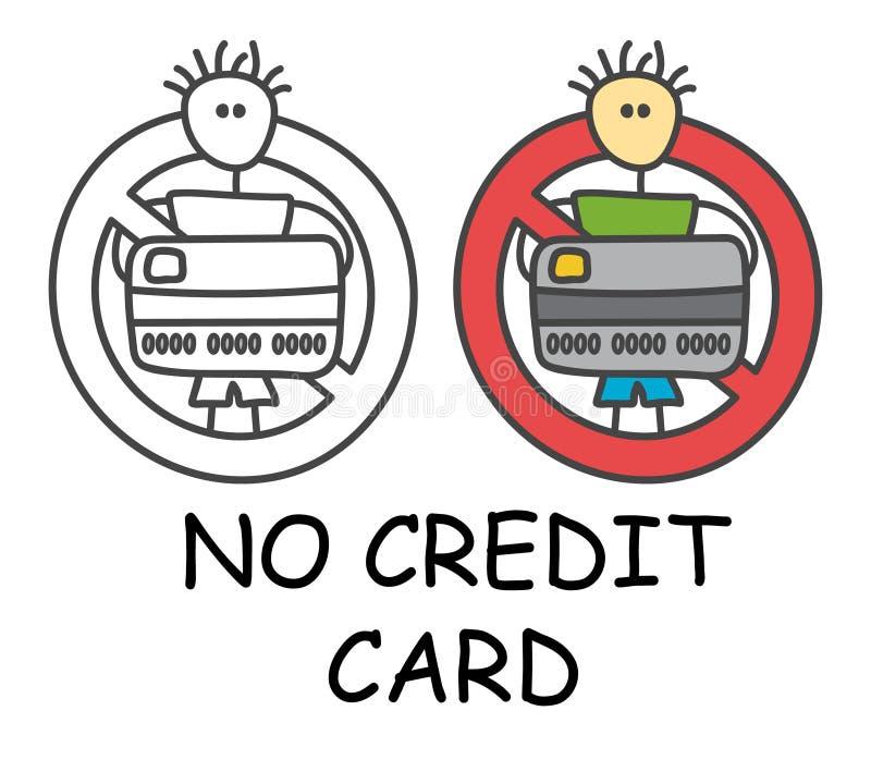 Śmieszny wektorowy kija mężczyzna z kartą kredytową w dzieciach stylowych Żadny płaci karta kredytowa szyldowa czerwona prohibicj ilustracji