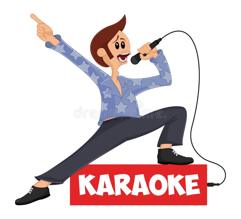 Śmieszny wektorowy postać z kreskówki śpiew w mikrofon i pozować Maskotka dla karaoke baru, przyjęcie, dyskoteka bar, noc klub ?y ilustracja wektor