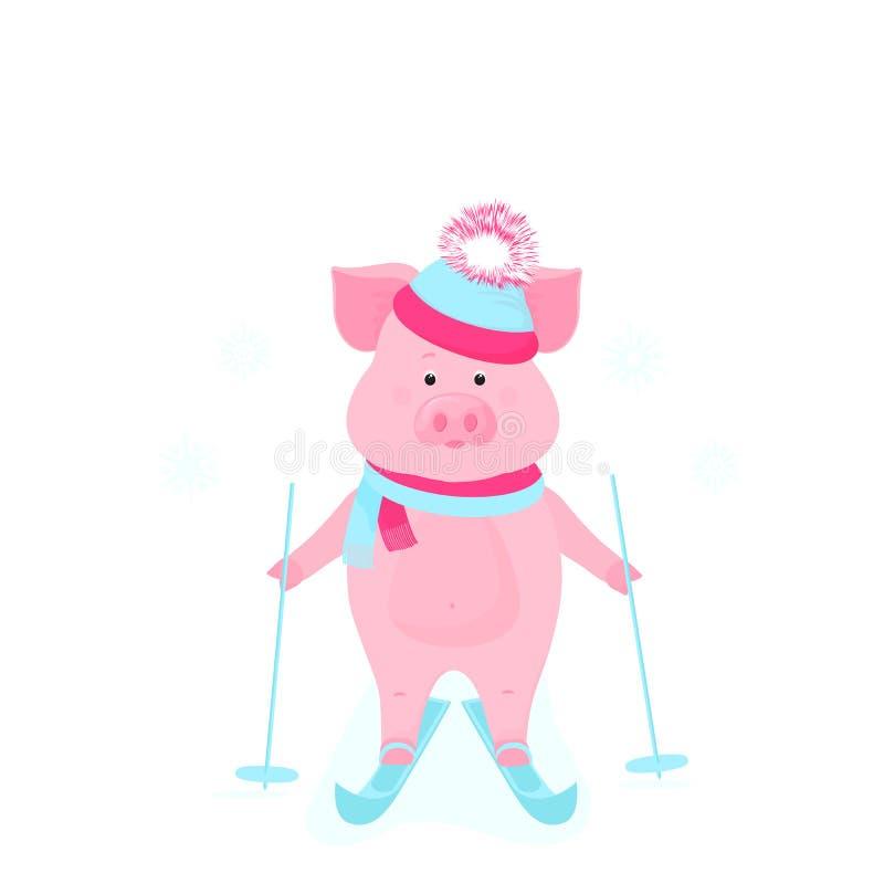 Śmieszny wieprz na łyżwach Śliczny prosiątka narciarstwo Prosiaczki na zima wakacje Kreskówek świnie outdoors royalty ilustracja