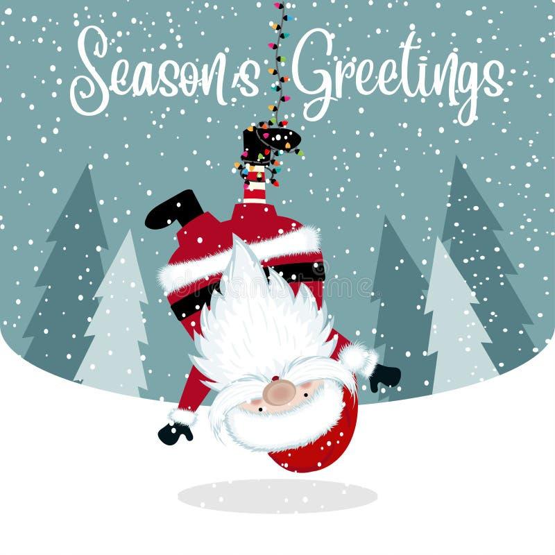 Śmieszny Wiszący Santa ilustracja wektor