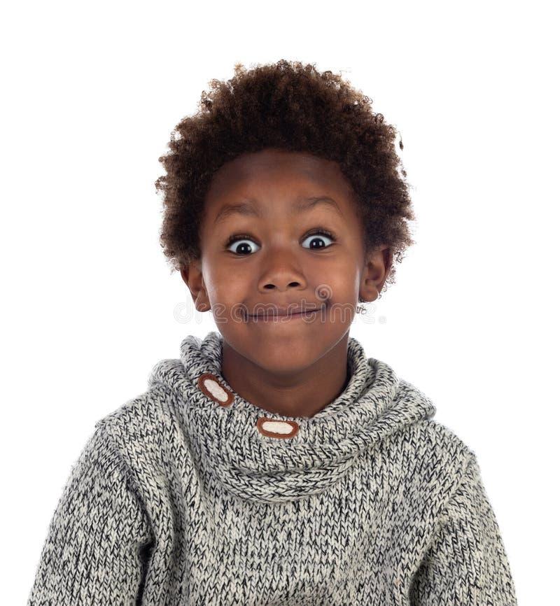 Śmieszny wyrażenie mały afrykański dziecko zdjęcia stock