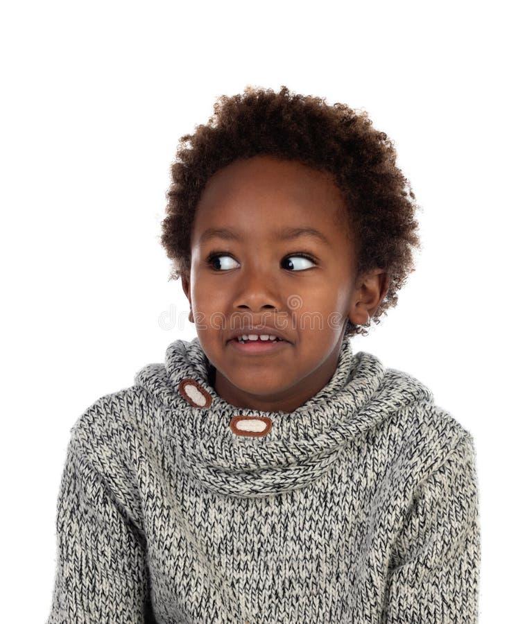 Śmieszny wyrażenie mały afrykański dziecko zdjęcie stock