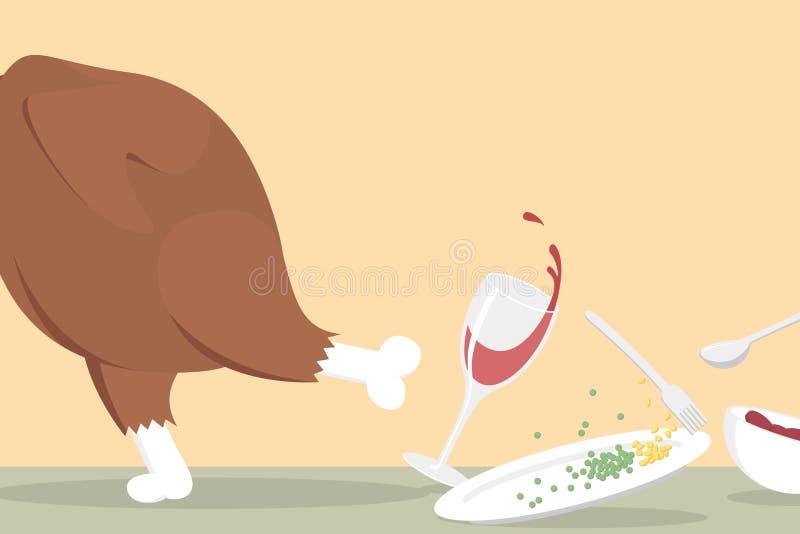 śmieszny z bieg stołu dziękczynienia indyka ilustracji
