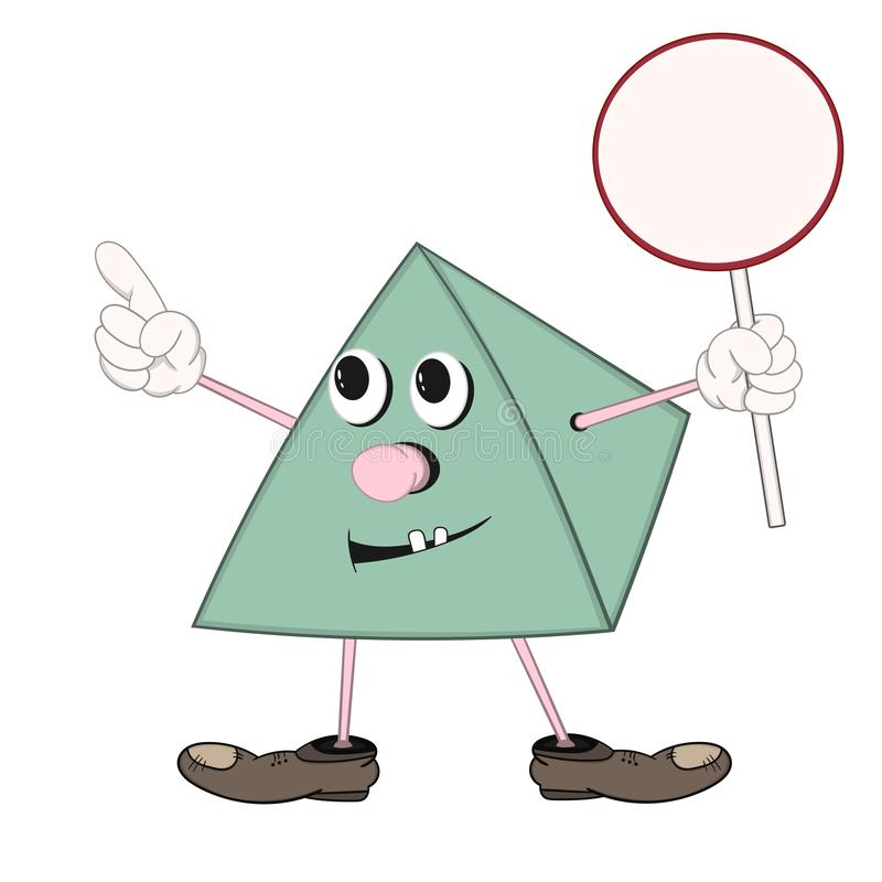 Śmieszny zielony kreskówka ostrosłup w butach trzyma round talerza w jego ręce, ono uśmiecha się i pokazuje w górę jeden palca, ilustracji