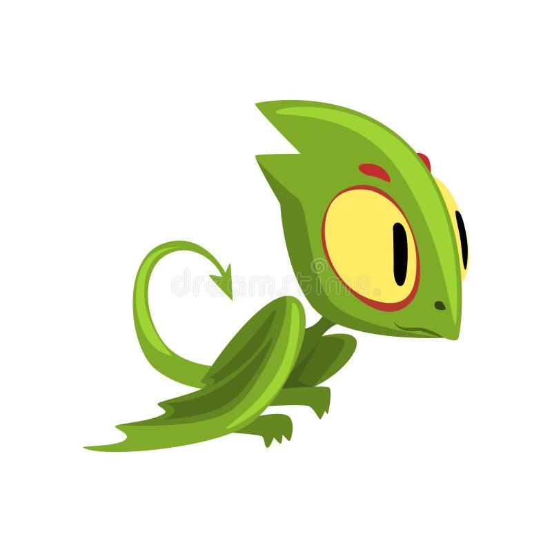 Śmieszny zielony smok z dużym oczu, kierowniczego i długiego ogonem, Postać z kreskówki mityczna istota Płaski wektorowy projekta ilustracji