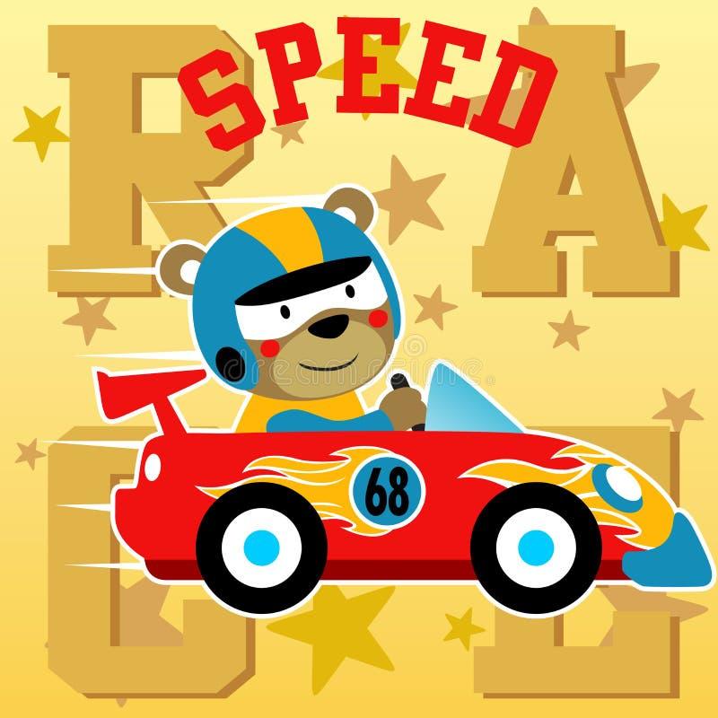 Śmieszny zwierzęcy samochodowy setkarz na abecadła tle ilustracji
