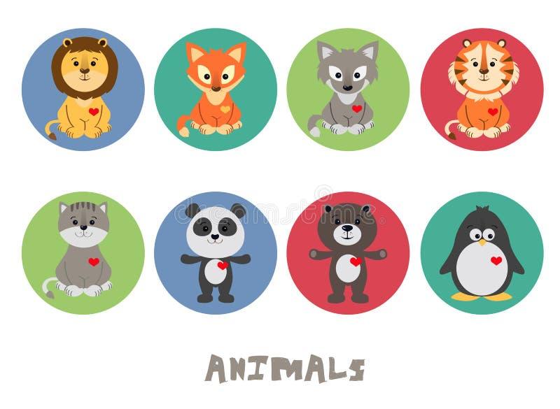 Śmieszny Zwierzęcy Wektorowy ilustracyjny ikona set royalty ilustracja