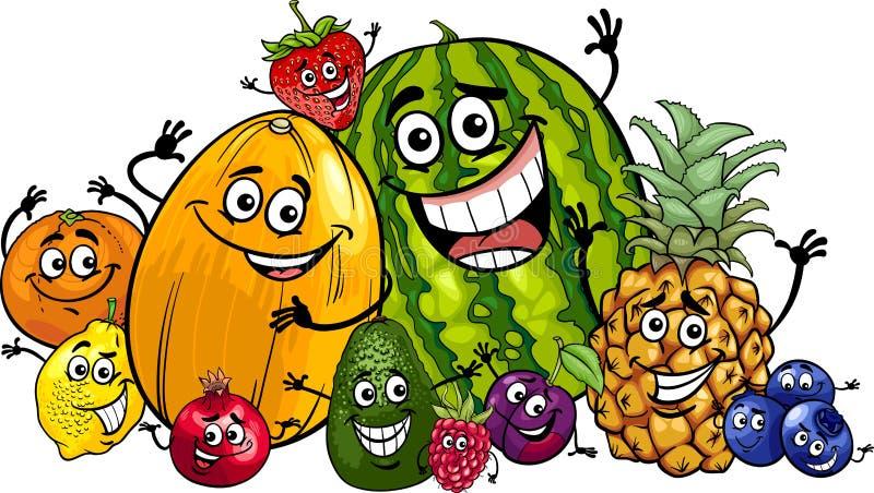 Śmiesznych owoc kreskówki grupowa ilustracja