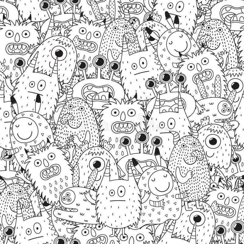 Śmiesznych potworów bezszwowy wzór dla kolorystyki książki ilustracja wektor