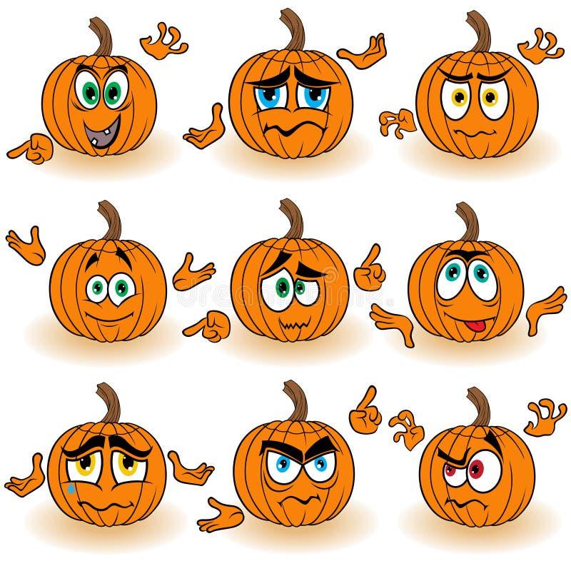 Śmieszyć gestykuluje pomarańczowe banie ilustracja wektor