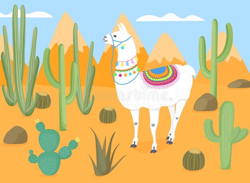 Śmieszyć muzzled lamy z krajowymi boliwijka ornamentami w dzikim Pustynia z kaktusami kaktus Góry ilustracja wektor