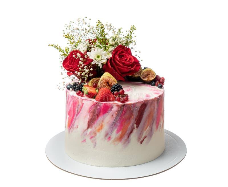 Śmietanka barwiący abstrakta tort jagody i kwiaty obrazy stock