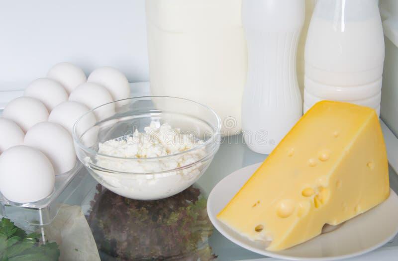 Śmietanka, mleko, kefir, jajka, chałupa ser i ser na półce w białej chłodziarce, zwierzęcych produktach, w górę obrazy royalty free