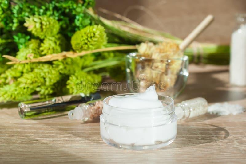 ŚMIETANKA NA tle ZIELONYCH rośliien ISTOTNI oleje I NATURALNI składniki Pojęcie naturalni kosmetyki obraz royalty free