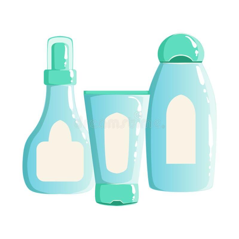 Śmietanka, szampon, zbiorniki, piękno I Skincare linia produktowa szablonu Ustalony projekt, Gel, ilustracji